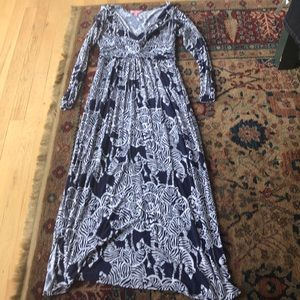 Lilly Pulitzer maxi dress sz med, navy zebra print